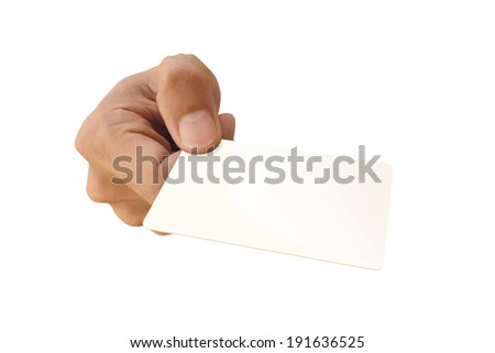 Man holding a blank business card with white background. - stock photo