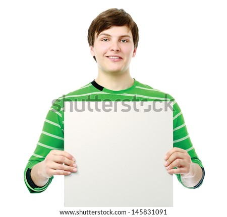 man holding a blank, isolated on white background - stock photo