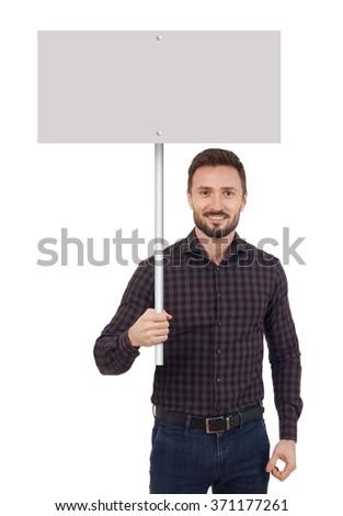 Man holding a blank placard - stock photo