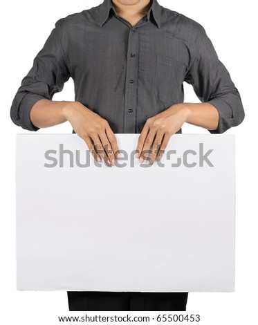 man holding a blank white board - stock photo