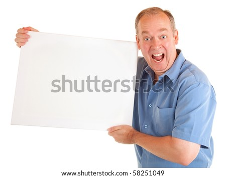 Man Holding a Blank White Sign - stock photo