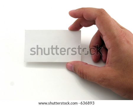 Man holding a business card against a white background - stock photo