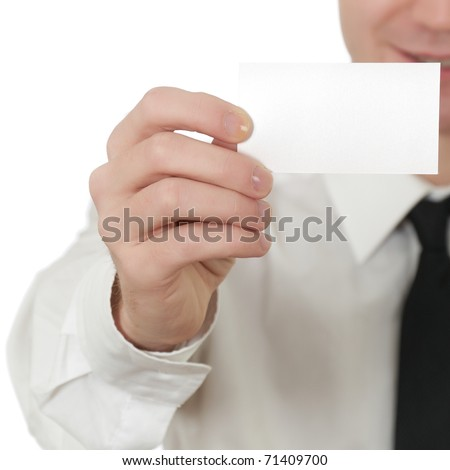 Man holding a card isolated on white background