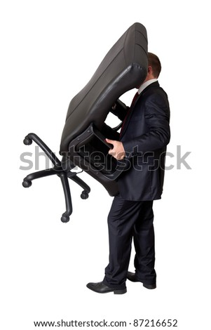 man holding a chair