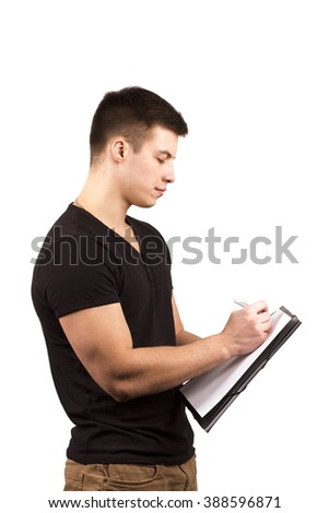 man holding a clipboard - stock photo
