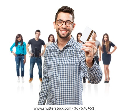 man holding a credit card - stock photo