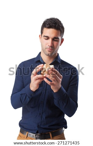 man holding a cube - stock photo
