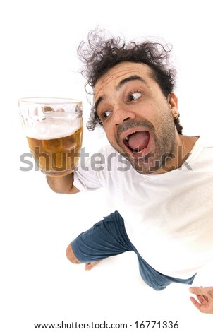 Man Holding a Cup whit Beer . - stock photo