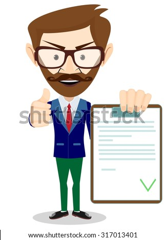 Man Holding a Document in Which All Approved, Validated, Agreed. The Document Put the Green Check Mark, Flags.  Illustration