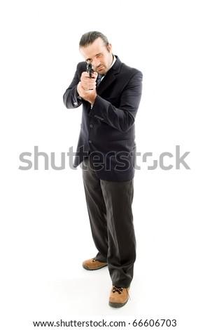 Man Holding a fire gun - stock photo