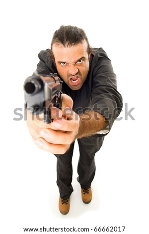 Man Holding a fire gun over white background . - stock photo