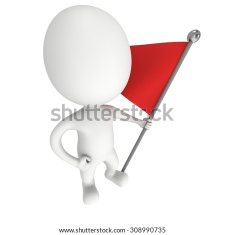 Man, holding a flag with red banner. 3d render isolated on white background.