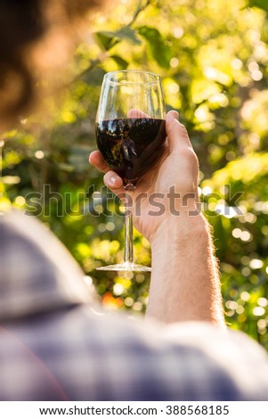 Man holding a glass of red wine in the garden