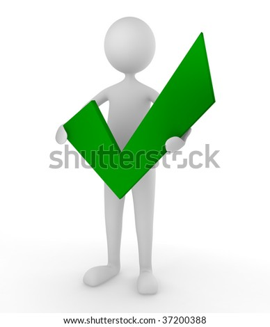Man holding a green tick mark; concept for approval and acceptance - stock photo
