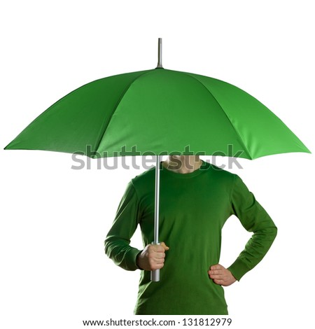 Man holding a green umbrella isolated on white - stock photo