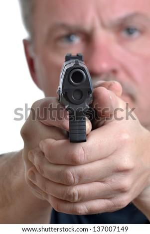 man holding a gun - stock photo