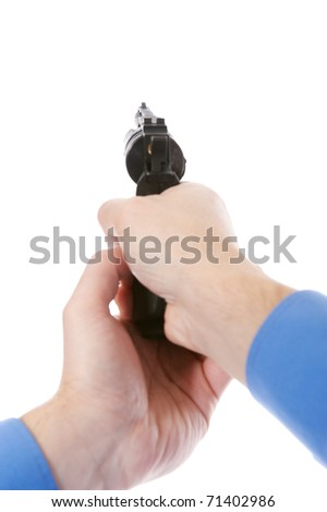 man holding a gun. Isolated on white background - stock photo