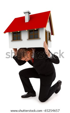 Man holding a house on his back. Conceptual view of a business man carrying alone the costs of a whole house, or insurance company concept supporting your home