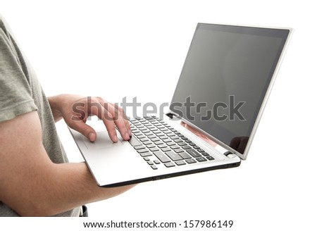 man holding a laptop, isolated on white background