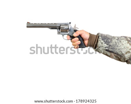 Man holding a 41 Magnum Stainless Steel revolver and pulling trigger, isolated over white - stock photo