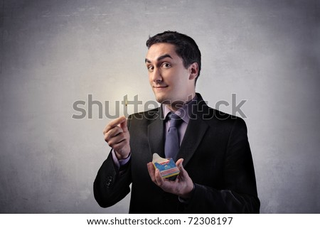 Man holding a match - stock photo