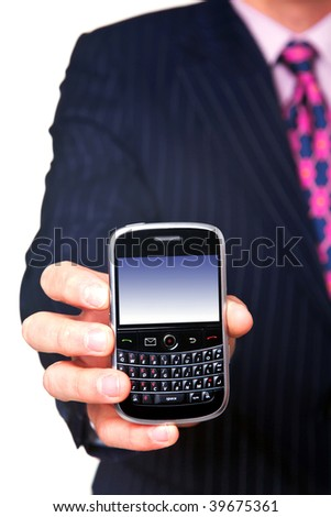 Man holding a mobile phone organizer towards camera, screen has a clipping path to add your own message or image. The device has been significantly altered from the original product.