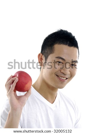 Man holding a red apple - stock photo