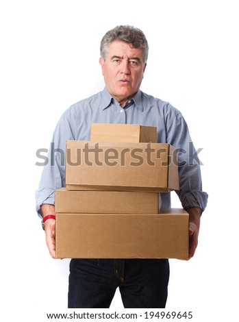 Man holding a weighty cardboard boxes