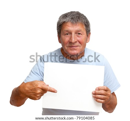 Man holding a white board, isolated on white background - stock photo