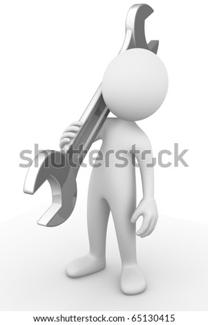 Man holding a wrench - stock photo