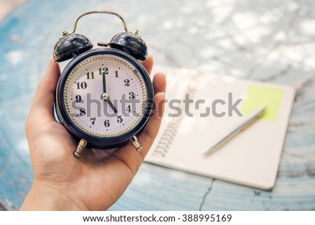 man holding alarm clock, Time Out,  - stock photo