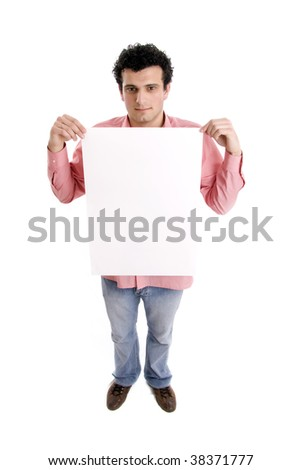 man holding an add isolated over a white background - stock photo