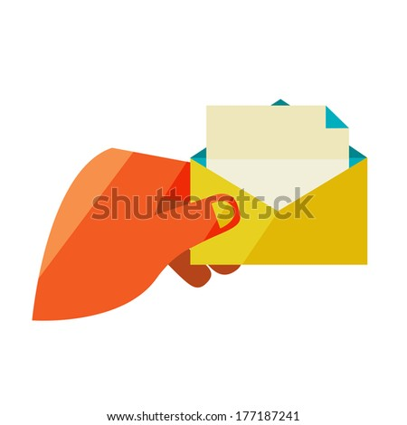 Man holding an envelope with a letter. Flat design modern illustration stylish colors of hand holding a business card and hand holding a coin - stock photo