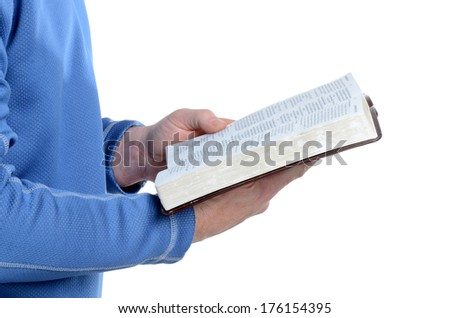 man holding an open book white background - stock photo