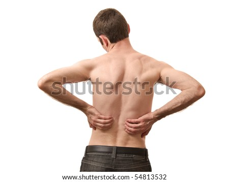 man holding back skin isolated on white background