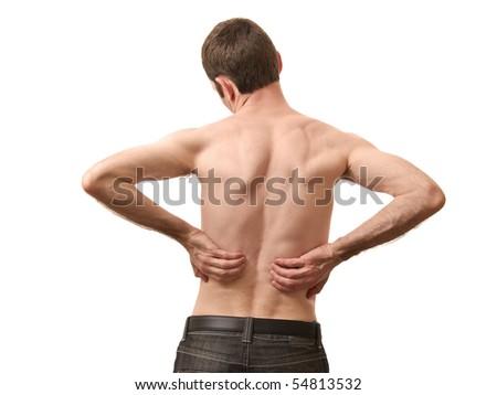 man holding back skin isolated on white background - stock photo