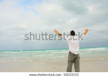 Man Holding Back The Storm - stock photo