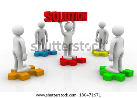 man holding big red solution puzzle - stock photo