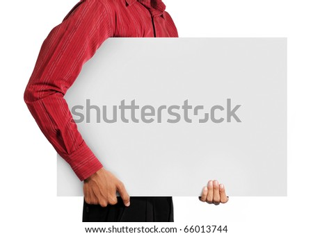 man holding big white blank board - stock photo
