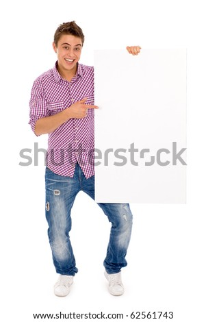 Man holding blank billboard