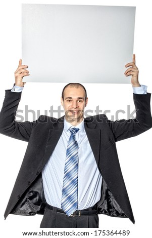 Man holding blank poster for advertising where you can write your price. - stock photo