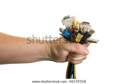 man holding bunch of cables - stock photo