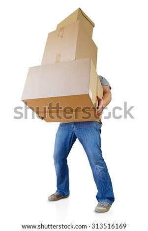 man holding carton boxes, clipping path included - stock photo
