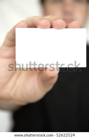 Man holding clean empty notice board