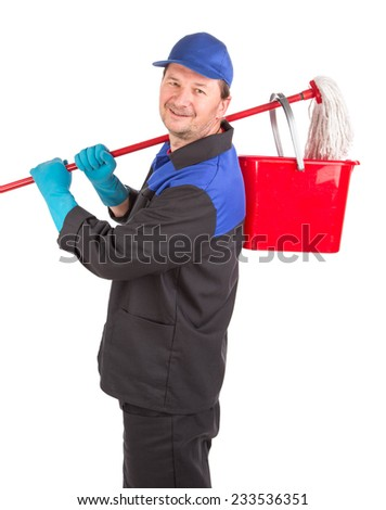 Man holding cleaning mop and bucket. Isolated on a white background. - stock photo