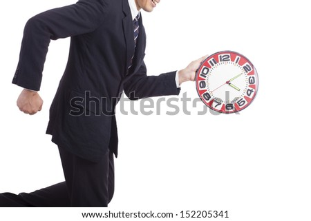 Man holding clock hands.