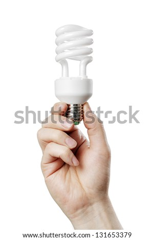 Man holding Compact Fluorescent Lamp Bulb in his hand.