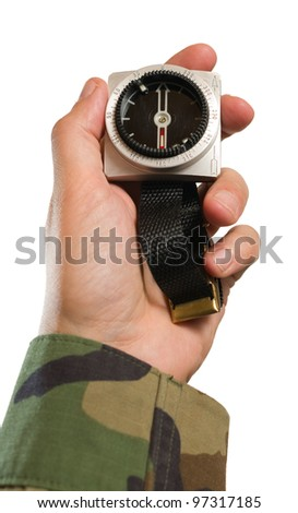 Man holding compass on hand and pointing to right direction, white isolated background. - stock photo