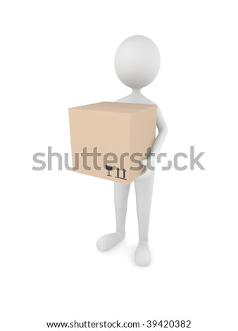 Man holding 3D cardboard box with fragile and top symbols - stock photo