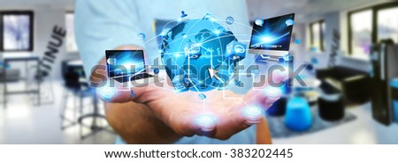 Man holding digital world connected to his fingers